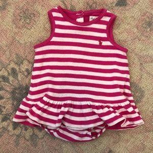 Ralph Lauren Pink White Stripe Onesie Romper